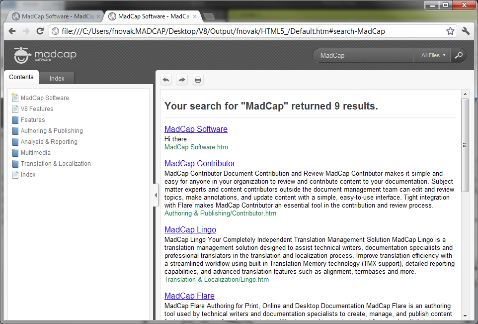 HTML5 WebHelp Search Results