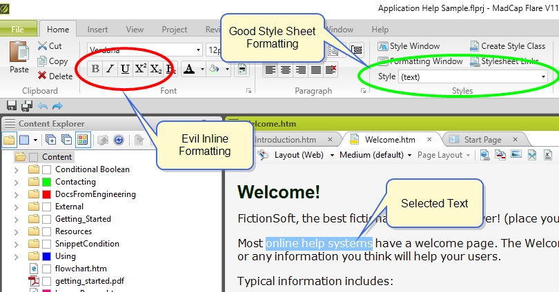 Flare interface screenshot showing inline formatting tools and style sheet tools