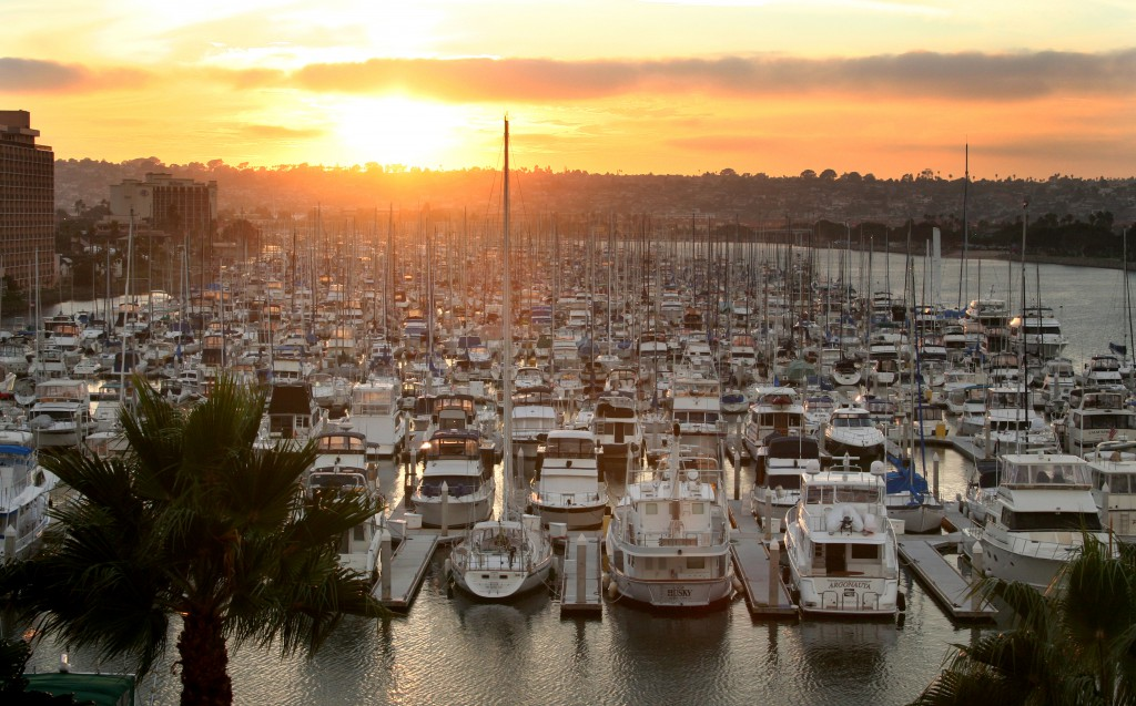 Harbor Island Marina at Sunset -Courtesy Joanne DiBona SanDiego.org