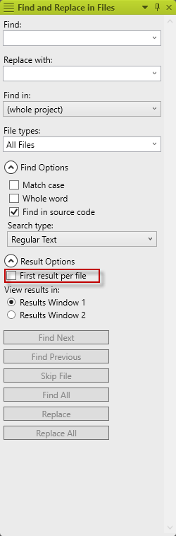 Enabling the First Result Per File option in MadCap Flare