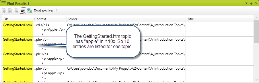 Example of MadCap Flare without the First result per file feature enabled.