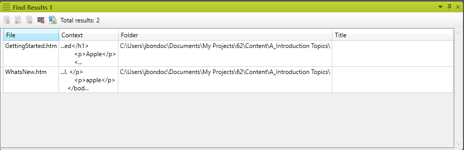 Example of MadCap Flare with the First result per file feature enabled.