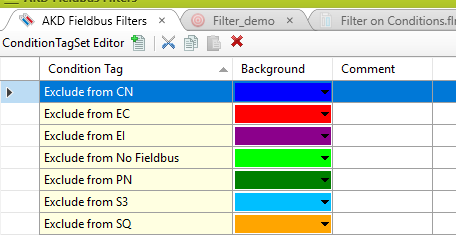 live filtering condition tags