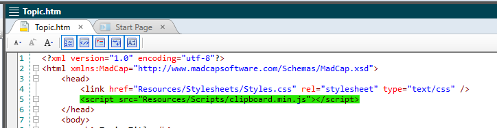 copy to clipboard functionality with madcap flare